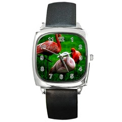 3pinkflamingos Square Leather Watch by bloomingvinedesign