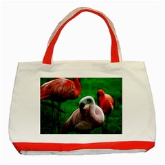 3pinkflamingos Classic Tote Bag (red) by bloomingvinedesign