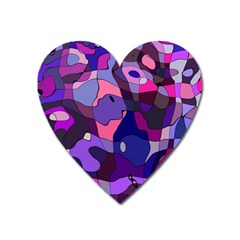 Blue Purple Chaos Magnet (heart) by LalyLauraFLM