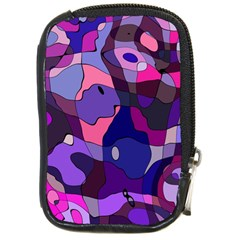 Blue Purple Chaos Compact Camera Leather Case by LalyLauraFLM