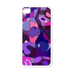 Blue Purple Chaos Apple Iphone 4 Case (white) by LalyLauraFLM