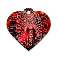 Vintage 1893 Chicago Worlds Fair Ferris Wheel Dog Tag Heart (one Sided)  by bloomingvinedesign