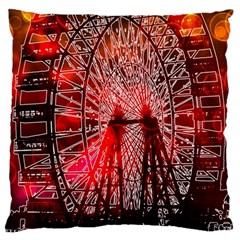 Vintage 1893 Chicago Worlds Fair Ferris Wheel Large Cushion Case (two Sided)  by bloomingvinedesign
