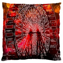 Vintage 1893 Chicago Worlds Fair Ferris Wheel Large Flano Cushion Case (one Side) by bloomingvinedesign