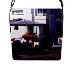 Vintage Paris Cafe Flap Closure Messenger Bag (large) by bloomingvinedesign