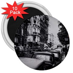 Vintage Paris Street 3  Button Magnet (10 Pack) by bloomingvinedesign