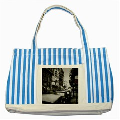 Vintage Paris Street Blue Striped Tote Bag by bloomingvinedesign