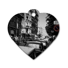 Vintage Paris Street Dog Tag Heart (one Sided)  by bloomingvinedesign