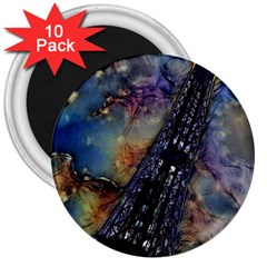 Vintage Eiffel Tower Abstract 3  Button Magnet (10 Pack) by bloomingvinedesign