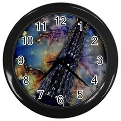 Vintage Eiffel Tower Abstract Wall Clock (black) by bloomingvinedesign