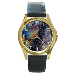 Vintage Eiffel Tower Abstract Round Leather Watch (gold Rim)  by bloomingvinedesign