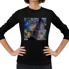 Vintage Eiffel Tower Abstract Women s Long Sleeve T Shirt (dark Colored) by bloomingvinedesign