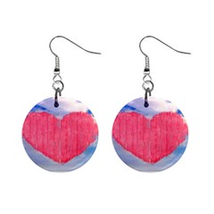 Pop Art Style Love Concept Mini Button Earrings
