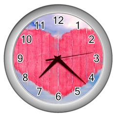 Pop Art Style Love Concept Wall Clock (silver) by dflcprints