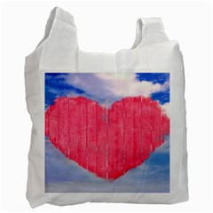 Pop Art Style Love Concept White Reusable Bag (two Sides) by dflcprints