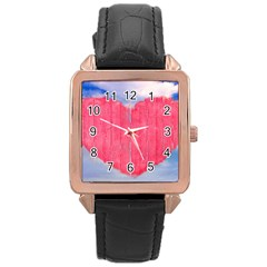 Pop Art Style Love Concept Rose Gold Leather Watch  by dflcprints