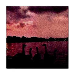 7 Geese At Sunset Ceramic Tile by bloomingvinedesign
