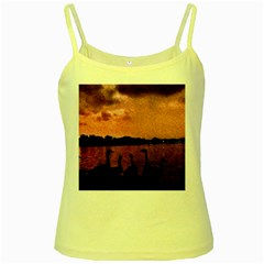 7 Geese At Sunset Yellow Spaghetti Tank by bloomingvinedesign