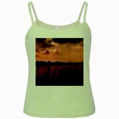 7 Geese At Sunset Green Spaghetti Tank by bloomingvinedesign