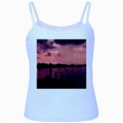 7 Geese At Sunset Baby Blue Spaghetti Tank by bloomingvinedesign
