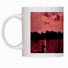 7 Geese At Sunset White Coffee Mug by bloomingvinedesign