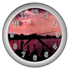 7 Geese At Sunset Wall Clock (silver) by bloomingvinedesign