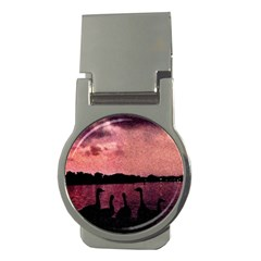 7 Geese At Sunset Money Clip (round) by bloomingvinedesign