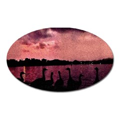 7 Geese At Sunset Magnet (oval) by bloomingvinedesign