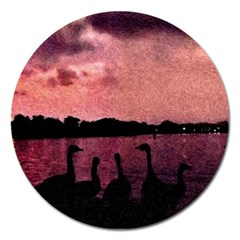 7 Geese At Sunset Magnet 5  (round) by bloomingvinedesign