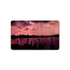7 Geese At Sunset Magnet (name Card) by bloomingvinedesign