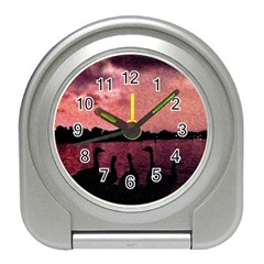 7 Geese At Sunset Desk Alarm Clock by bloomingvinedesign