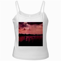7 Geese At Sunset White Spaghetti Top by bloomingvinedesign
