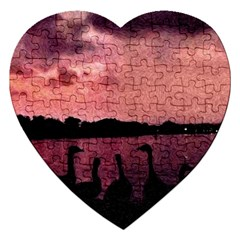 7 Geese At Sunset Jigsaw Puzzle (heart) by bloomingvinedesign