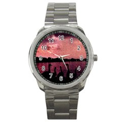 7 Geese At Sunset Sport Metal Watch by bloomingvinedesign