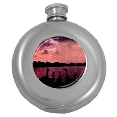 7 Geese At Sunset Hip Flask (round) by bloomingvinedesign