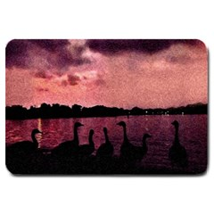 7 Geese At Sunset Large Door Mat by bloomingvinedesign