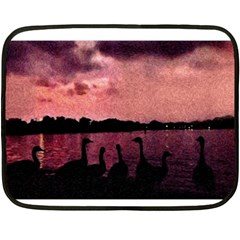 7 Geese At Sunset Mini Fleece Blanket (two Sided) by bloomingvinedesign