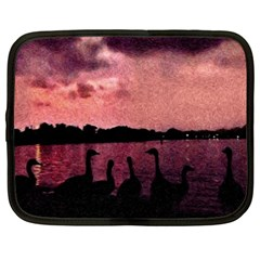 7 Geese At Sunset Netbook Sleeve (xxl) by bloomingvinedesign