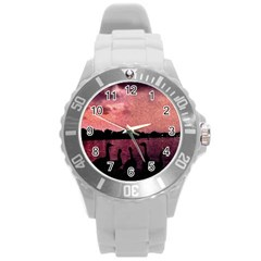 7 Geese At Sunset Plastic Sport Watch (large) by bloomingvinedesign