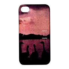 7 Geese At Sunset Apple Iphone 4/4s Hardshell Case With Stand by bloomingvinedesign