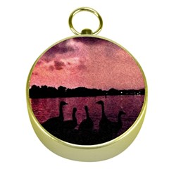 7 Geese At Sunset Gold Compass by bloomingvinedesign