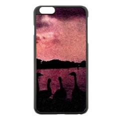 7 Geese At Sunset Apple Iphone 6 Plus Black Enamel Case by bloomingvinedesign