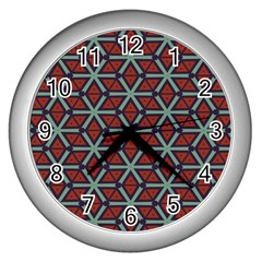 Cubes Pattern Abstract Design Wall Clock (silver) by LalyLauraFLM