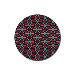 Cubes Pattern Abstract Design Rubber Round Coaster (4 Pack) by LalyLauraFLM