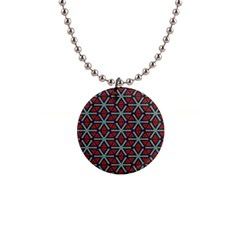 Cubes Pattern Abstract Design 1  Button Necklace by LalyLauraFLM