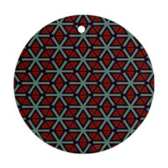 Cubes Pattern Abstract Design Round Ornament (two Sides) by LalyLauraFLM