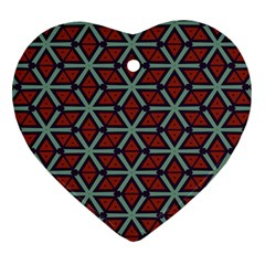 Cubes Pattern Abstract Design Heart Ornament (two Sides) by LalyLauraFLM