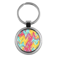 Paint Strokes Abstract Design Key Chain (round) by LalyLauraFLM