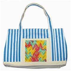 Paint Strokes Abstract Design Striped Blue Tote Bag by LalyLauraFLM