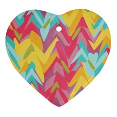 Paint Strokes Abstract Design Heart Ornament (two Sides) by LalyLauraFLM